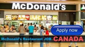 Fast Food Service Attendant Jobs in McDonalds Restaurant CANADA 2018