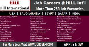 Hill International Careers Recruitment in USA-KSA-Qatar-Egypt-India Required Urgently