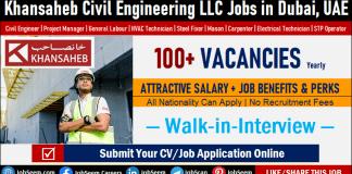 Careers at Khansaheb Civil Engineering LLC, Urgent Khansaheb Job Vacancies are Available for Hiring