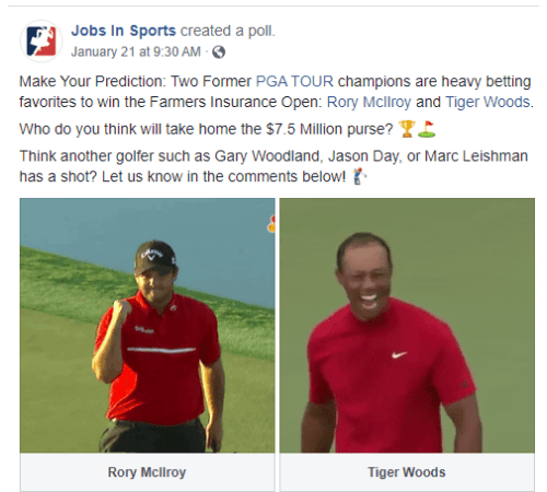 Facebook post: Make Your Prediction: Two Former PGA TOUR champions are heavy betting favorites to win the Farmers Insurance Open: Rory McIlroy and Tiger Woods. Who do you think will take home the $7.5 Million purse? trophy emoji flag in hole emoji Think another golfer such as Gary Woodland, Jason Day, or Marc Leishman has a shot? Let us know in the comments below! male golfer emoji