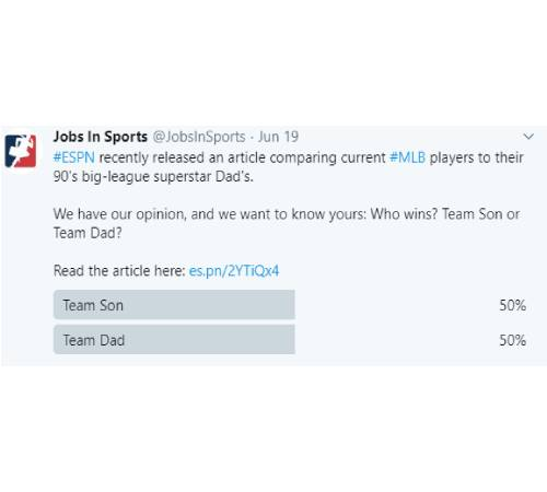 Tweet: #ESPN recently released an article comparing current #MLB players to their 90's big-league superstar Dad's. We have our opinion, and we want to know yours: Who wins? Team Son or Team Dad? Read the article here: https://es.pn/2YTiQx4