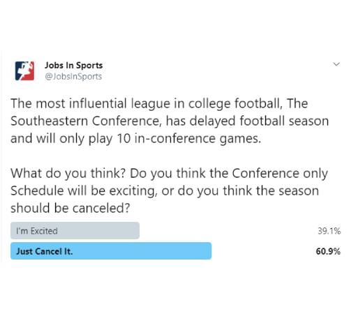 Tweet: The most influential league in college football, The Southeastern Conference, has delayed football season and will only play 10 in-conference games. What do you think? Do you think the Conference only Schedule will be exciting, or do you think the season should be canceled?