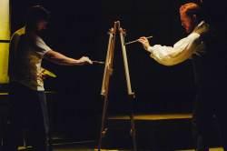 (L-R) Steve Fisher and Jordan Foote in Jobsite's Inventing Van Gogh. (Photo by Crawford Long.)