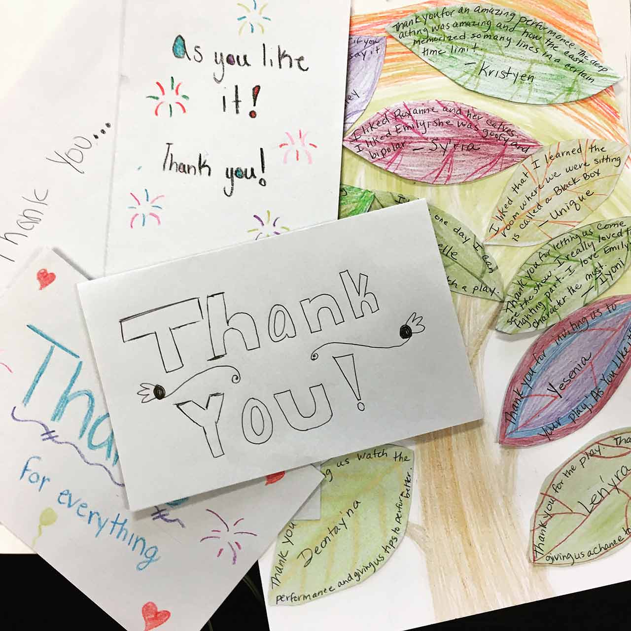 A collection of thank-you notes from students who attended As You Like It.
