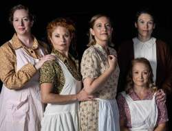 (Clock. from L) Jonelle Meyer, Katrina Stevenson, Emily Belvo, Nicole Jeannine Smith, and Caitlin Eason in Jobsite's Dancing at Lughnasa. (Photo courtesy Pritchard Photography.)