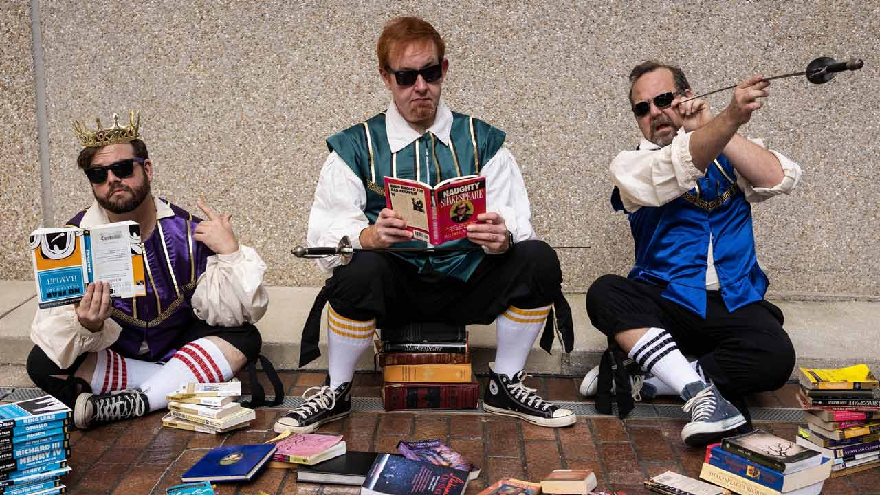 (L-R) Spencer Meyers, David M. Jenkins and Shawn Paonessa in Jobsite's The Complete Works of William Shakespeare (abridged). (Photo by Pritchard Photography.)