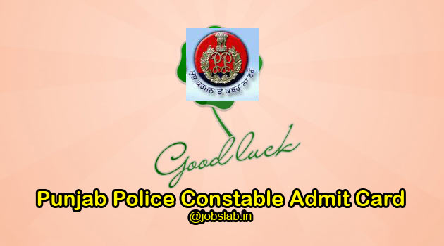 Punjab Police Constable Admit Card 2016 Download