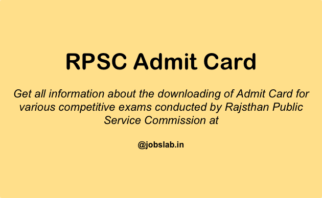 RPSC Admit Card 2016 - Download RPSC Hall Ticket 2016