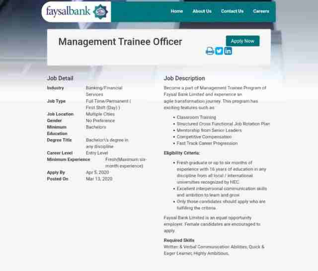 Faysal Bank MTO Jobs 2020 Management Trainee Officer Online Apply