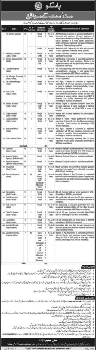 Jobs In PASSCO 2020 Pakistan OTS Application Form Latest