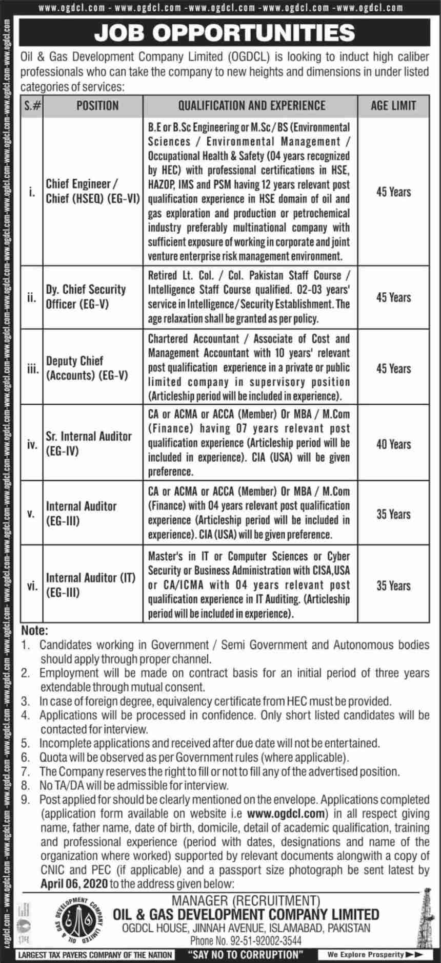 OGDCL Jobs 2020 Oil & Gas Development Company Ltd Form Download