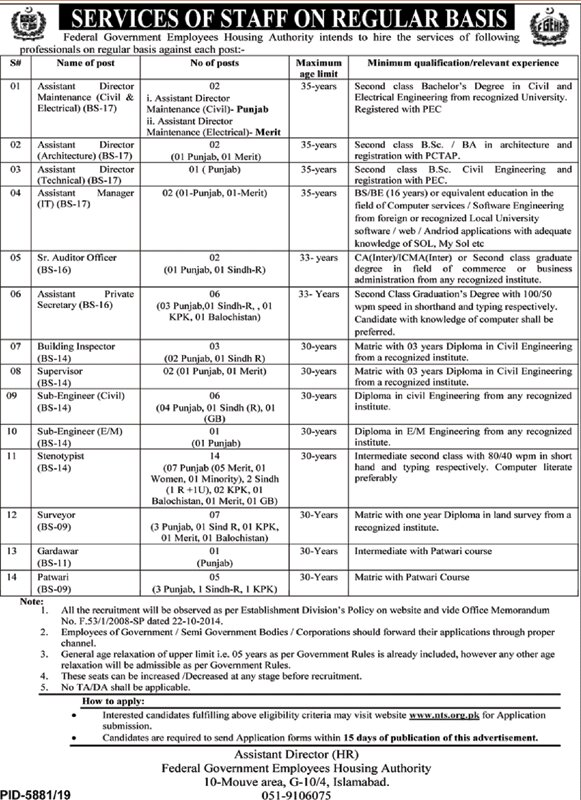 FGEHA Jobs 2020 Federal Government Housing Authority NTS Form