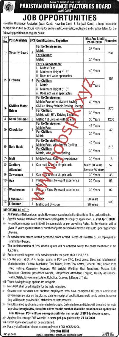 POF Board Jobs 2020 Pakistan Ordnance Factory Wah Cantt Online Apply