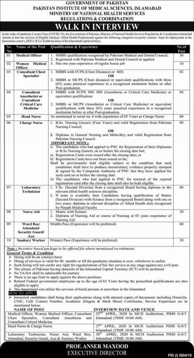 Pakistan Institute of Medical Sciences PIMS Jobs 2020 Islamabad