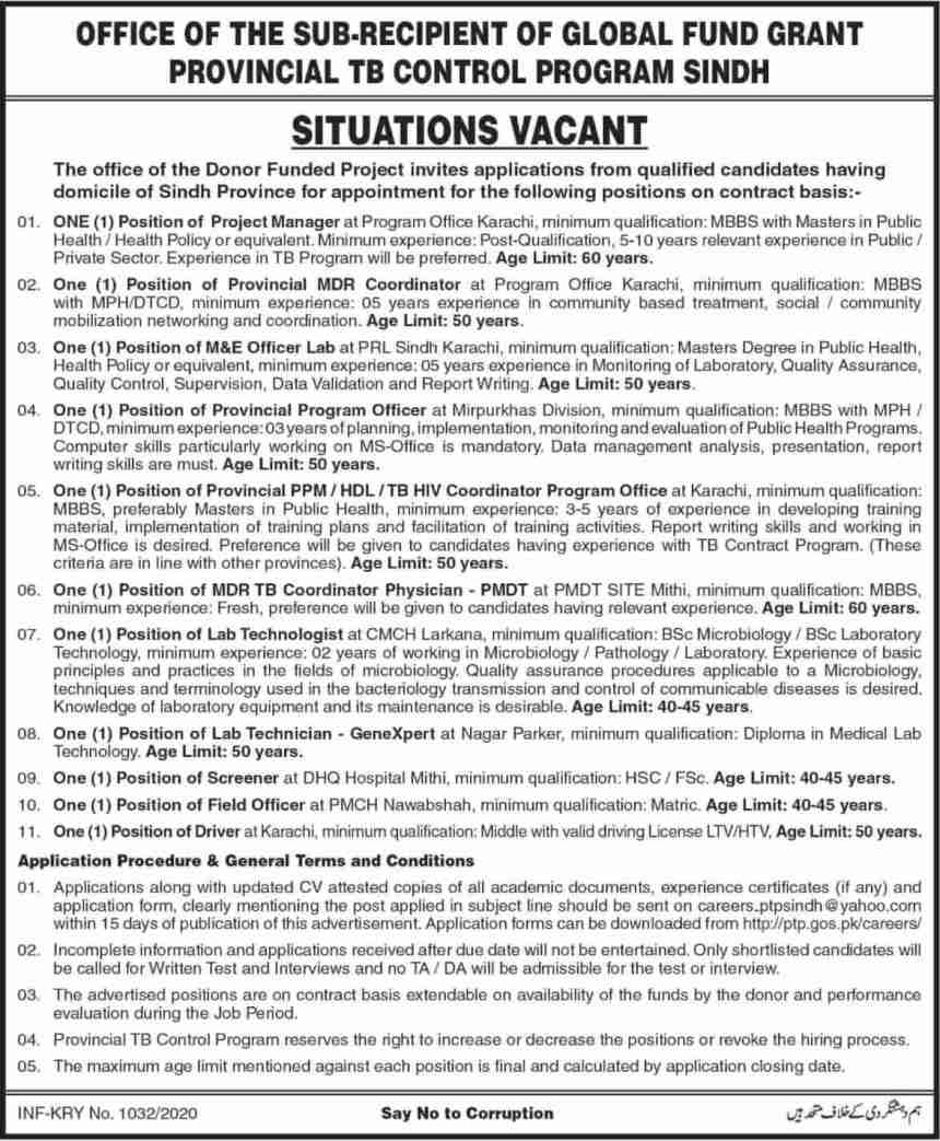 TB Control Program Sindh Jobs 2020 Health Department Latest