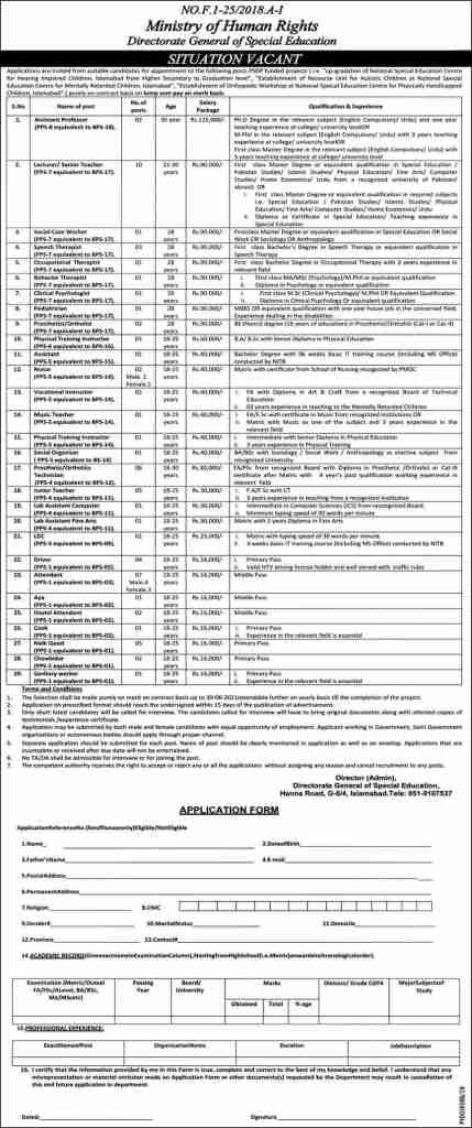 Ministry of Human Rights Jobs 2020 Application Form Download Online