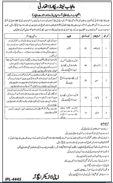 Punjab Land Record Authority Jobs 2020 PLRA Lahore