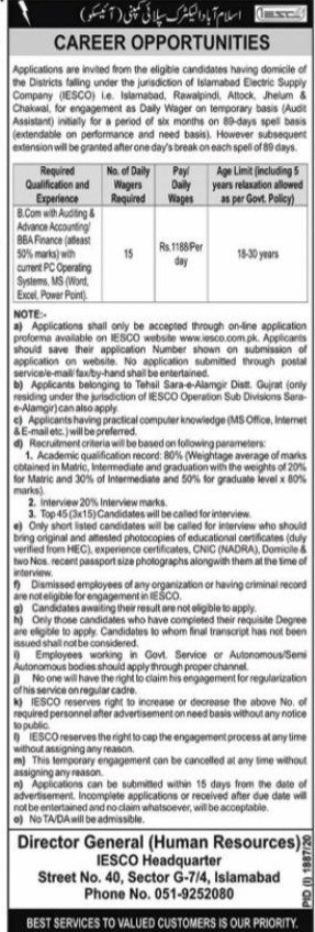 Islamabad Electric Supply Company IESCO Jobs 2020 Career Opportunities