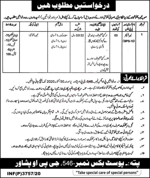 Post Box No 546 GPO Peshawar Jobs 2020 Latest Career opportunities