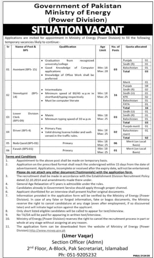 Ministry of Energy power division jobs 2020-21 Latest Advertisement
