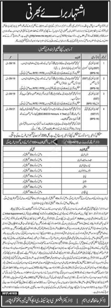 Elementary and Secondary Education KPK Jobs October 2020