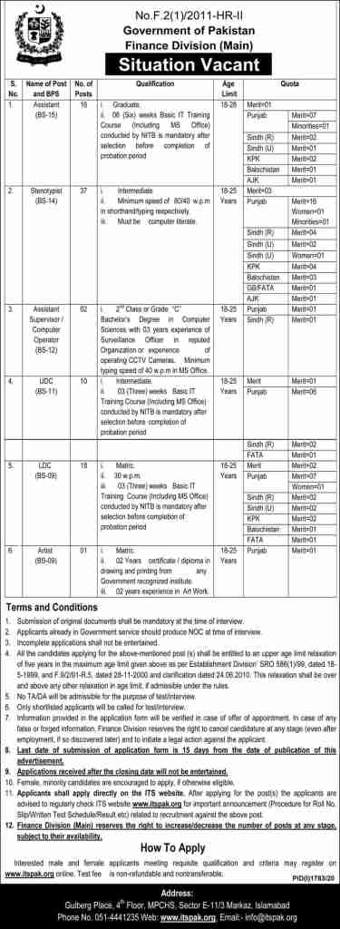 Govt of Pakistan Finance Division Jobs October 2020,