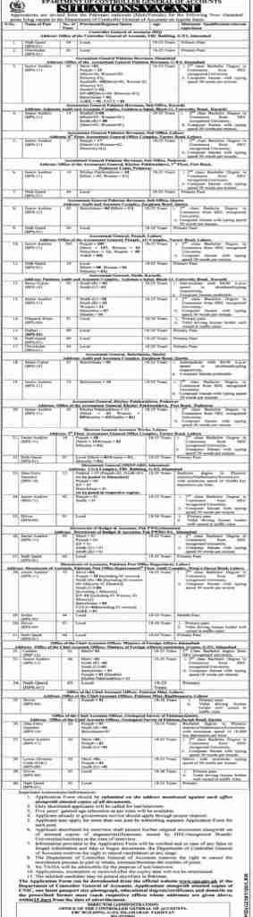CGA Jobs 2020 Controller General of Accounts Pakistan Application Form