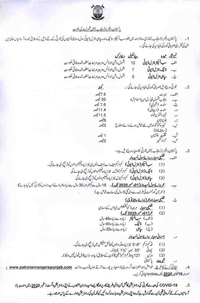 Pakistan Rangers Jobs 2020 Punjab Online Application Form