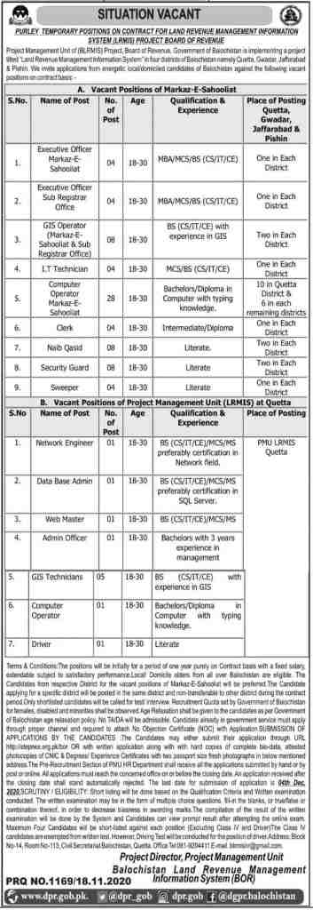 Board of Revenue Jobs November 2020 Latest Advertisement