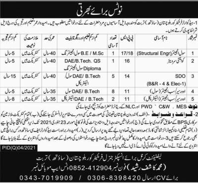 FC Jobs 2021 Balochistan Frontier Corps Advertisement