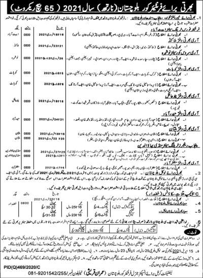 FC Frontier Corps Jobs 2021 for Soldier Balochistan North Advertisement