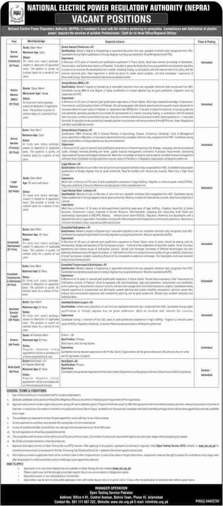 NEPRA Jobs 2021 OTS Application Form Latest Advertisement