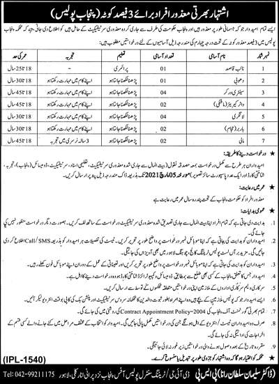 Disabled Person Jobs in Punjab Police 2021 Advertisement