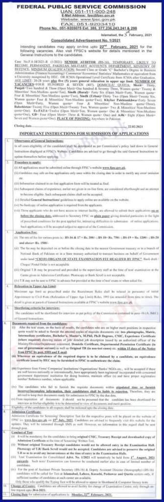 FPSC Senior Auditor(BPS-16) Jobs 2021  in MOD Accounts Department