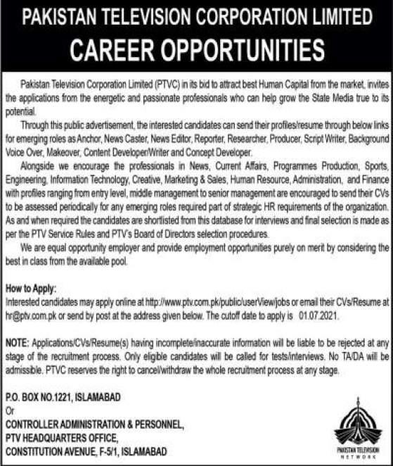 PTV Jobs Advertisement 2021 Islamabad Apply Online
