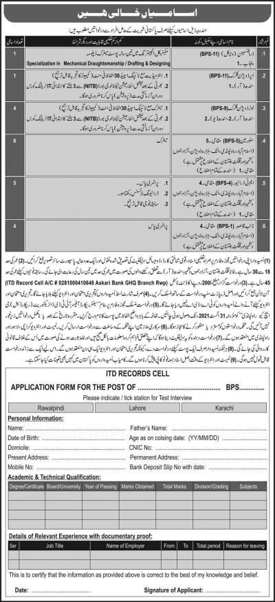 Itd record cell jobs 2021 in GHQ Rawalpindi Application Form