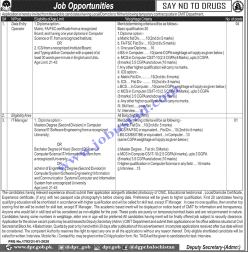 Chief Minister Inspection Team Jobs January 2020
