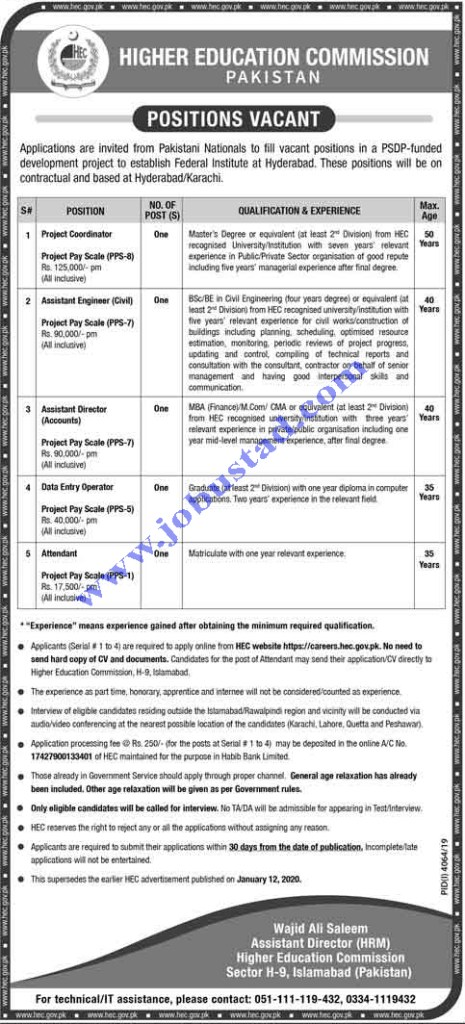 HEC Jobs in Hyderabad January 2020 Latest