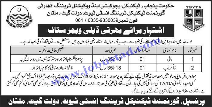 TEVTA Multan Latest Jobs in Punjab January 2020