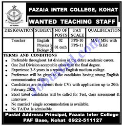 Fazaia Inter College Kohat Jobs 2020 | PAF Jobs