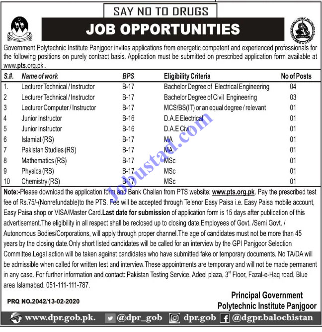 Government Polytechnic Institute GPI Jobs in Balochistan 2020