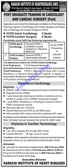 Karachi Institute of Heart Diseases Jobs 2020