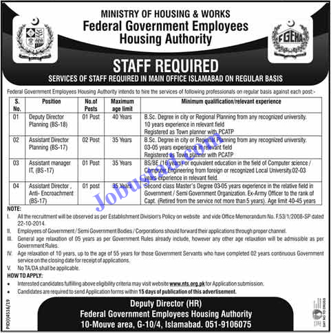 Ministry of Housing and Works Jobs  2020 via NTS