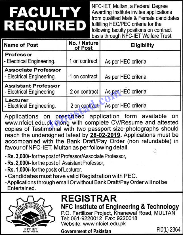 NFC Institute of Engineering and Technology Multan Jobs 2020