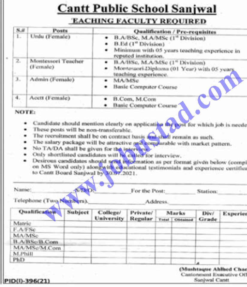 Government Jobs in Sahiwal 2021 Advertisement at Cantt Public School