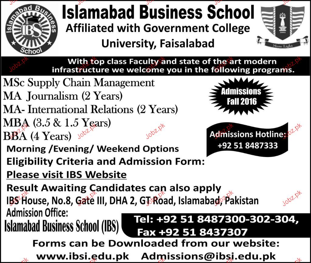 Islamabad Business School Admission In Ma Mba And Msc