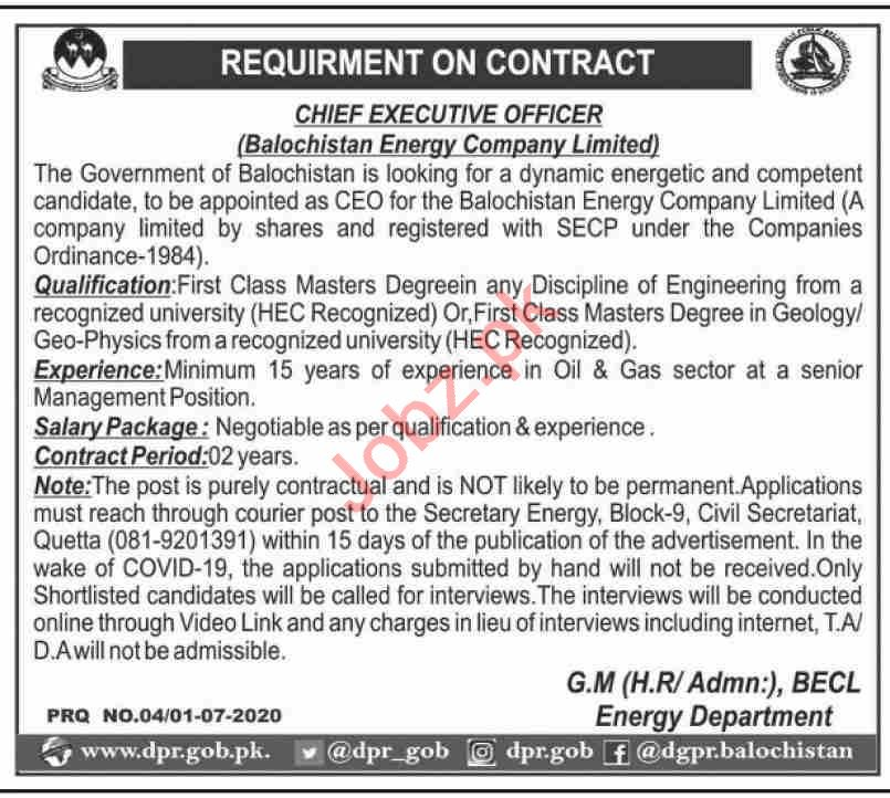 Latest Energy Department Executive Posts Quetta