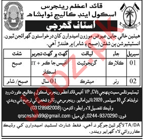 Quaid e Azam Rangers School & College Nawabshah Jobs 2020
