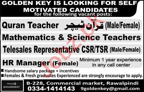 Telesales Representative & Female HR Manager Jobs 2020