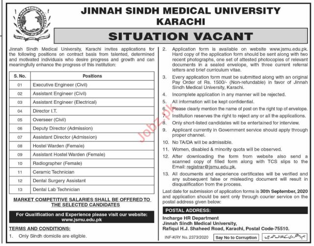 Assistant Engineer & Director Jobs 2020 in JSMU University